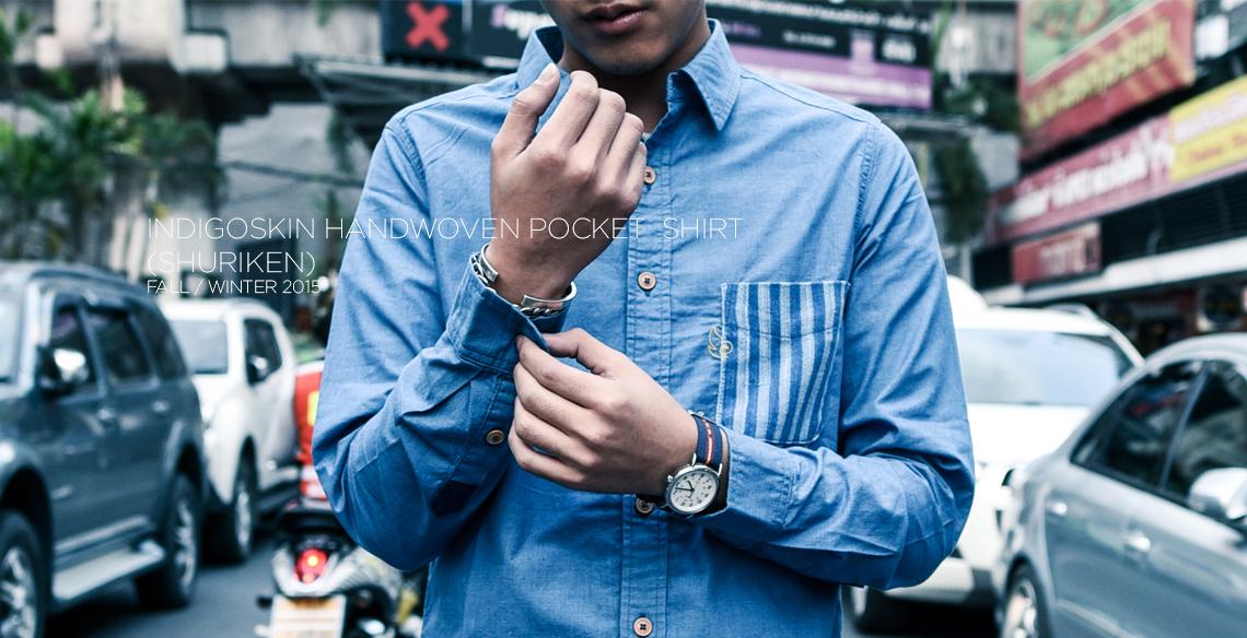 "Indigoskin Handwoven Pocket Shirt ""Shuriken"""