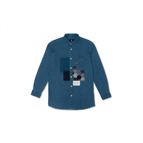 Washed Denim Patchwork Shirts
